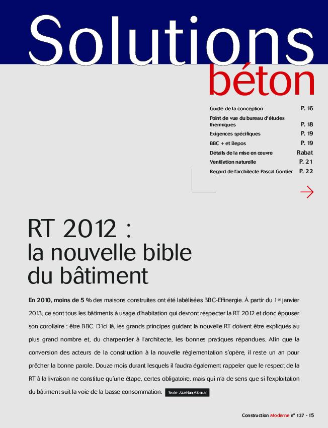 rt 2012 la nouvelle bible du b timent infociments. Black Bedroom Furniture Sets. Home Design Ideas